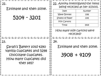 Addition and Subtraction Task Cards Grade 4