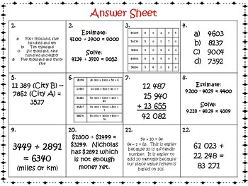 Addition and Subtraction Task Cards Grade 5