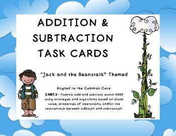 Addition and Subtraction Task Cards- Jack and the Beanstalk Theme