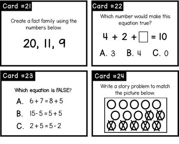 Addition and Subtraction Task Cards- Problem Solving Within 20