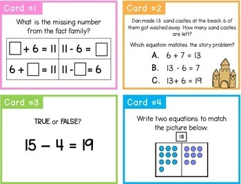 Addition and Subtraction Task Cards- Problem Solving Center