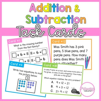 Addition and Subtraction Task Cards- 1st Grade Problem Solving Center
