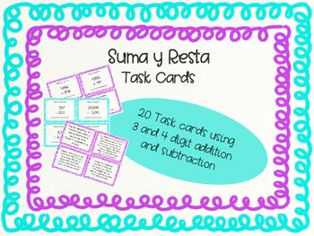 Addition and Subtraction Task Cards/ Suma y Resta Tarjetas de Practica