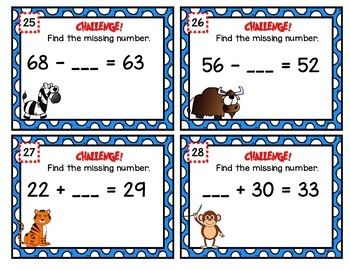 Addition and Subtraction Scoot Task Cards (no regrouping) with PowerPoint