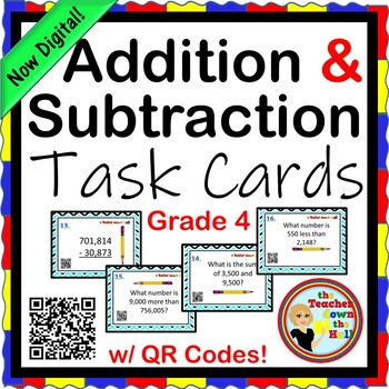 Addition and Subtraction Task Cards w/ QR Codes