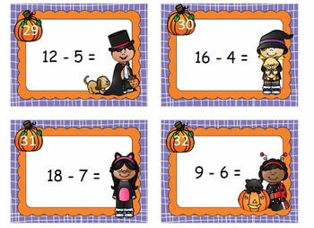 Addition and Subtraction Task Cards within 20 Trick or Treat Theme