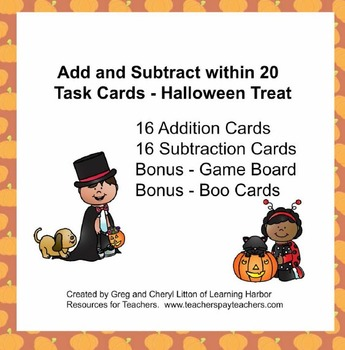 Addition and Subtraction Task Cards within 20 Trick or Tre