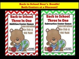 Addition and Subtraction Math Center Teddy Bear Back To School 3 Games in 1