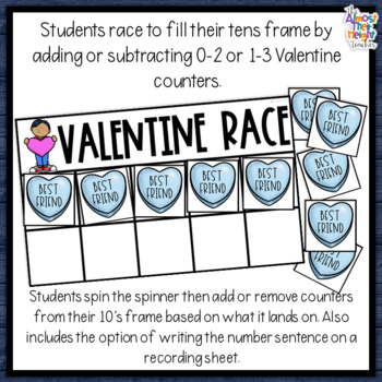 Valentine Addition and Subtraction a 10's frame game adding & subtracting 0-3