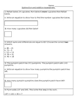 Questar Addition and Subtraction Test