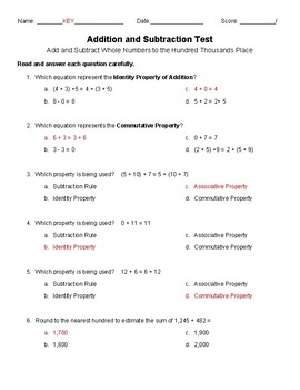 Addition and Subtraction Test- 4th Grade
