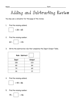 Addition and Subtraction Test Review