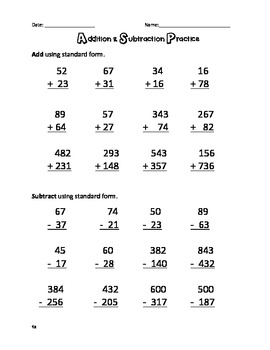 Addition and Subtraction Test, Review, Quiz, and Worksheets