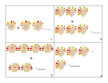 Addition and Subtraction Thanksgiving Task Cards
