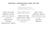 Addition and Subtraction Think-Tac-Toes