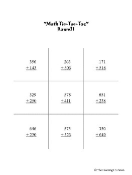 Addition and Subtraction Tic-Tac-Toe Bundle