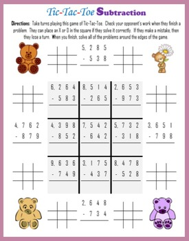 Addition and Subtraction Tic-Tac-Toe (with Bears)
