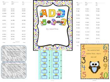 Addition and Subtraction Timed Test with Certificate and Punch Cards