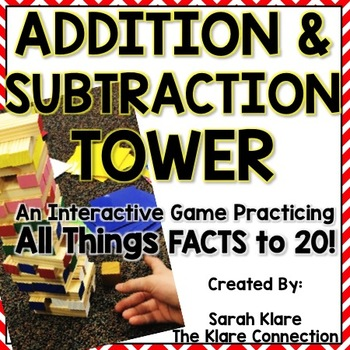 Addition and Subtraction Tower {Game practicing facts to 20}