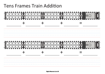 Addition and Subtraction Train Bundle - Tens Frames (Numbers and Words)