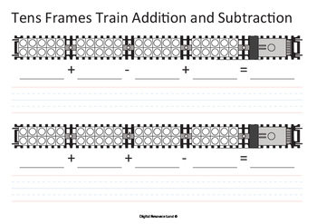 Addition and Subtraction Train - Tens Frames (Numbers an Words)