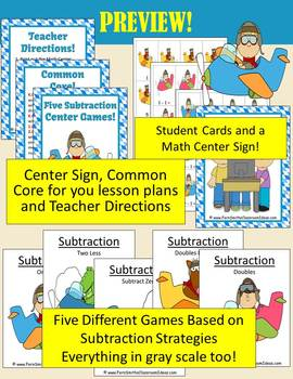 Addition and Subtraction Transportation Airplanes and Cars Themed Center Games