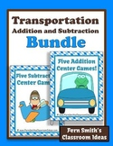 Addition and Subtraction Ten Transportation Themed Mix and Match Center Games