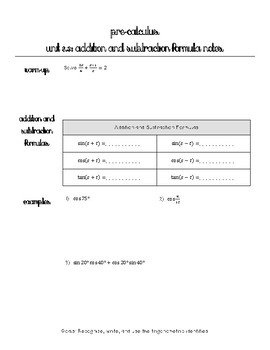 Addition and Subtraction Trigonometric Identities