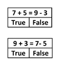 Addition and Subtraction True False Facts