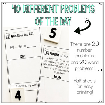 Addition and Subtraction Two Digit- Problem of the Day