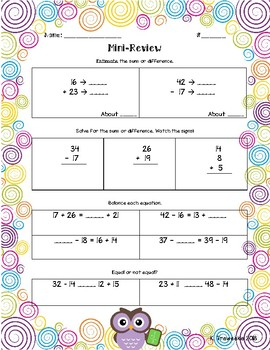 Addition and Subtraction Unit Mini-Review