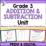 Addition and Subtraction Unit for Grade 3 (Ontario Curriculum)