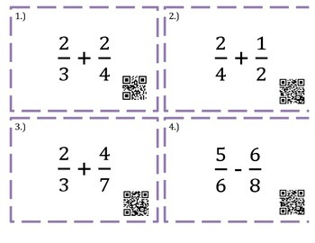 Adding and Subtracting Unlike Fractions-Task Cards