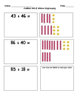 Addition and Subtraction Using Base Ten Blocks