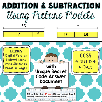 Addition and Subtraction Using Picture Models - with unique 4x4 answer document!
