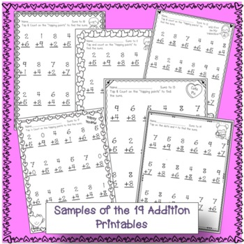 "Addition and Subtraction Valentine Worksheets with ""Tap 'n Count"" points"