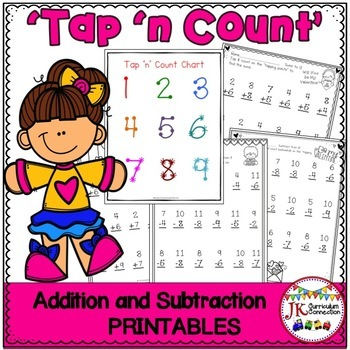 """Addition and Subtraction Valentine Worksheets with """"Tap 'n Count"""" points"""