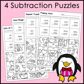 Addition and Subtraction Valentine's Day Puzzles