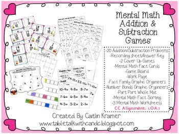 Mental Math Addition and Subtraction Games