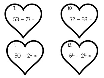 Addition and Subtraction Valentines Day Task Cards