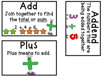 Addition and Subtraction Vocabulary