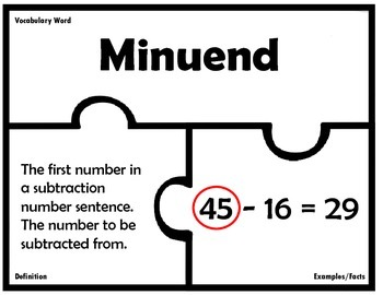 Addition and Subtraction Vocabulary Puzzles
