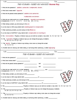 Addition and Subtraction Vocabulary Worksheets and Assessments