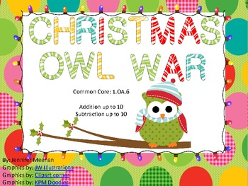 Addition and Subtraction War-Christmas Themed-Common Core Aligned-1st Grade