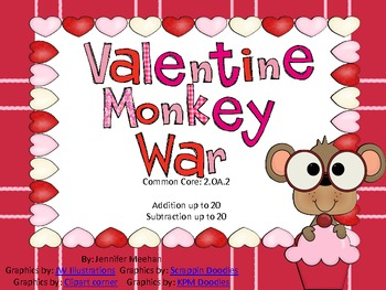 Addition and Subtraction War-Valentine Themed-Common Core Aligned-2nd Grade