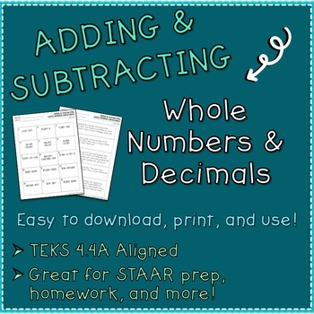 Addition And Subtraction Whole Numbers Teaching Resources | Teachers ...