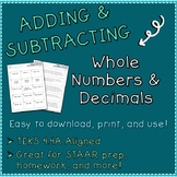 Addition and Subtraction: Whole Numbers and Decimals Worksheets