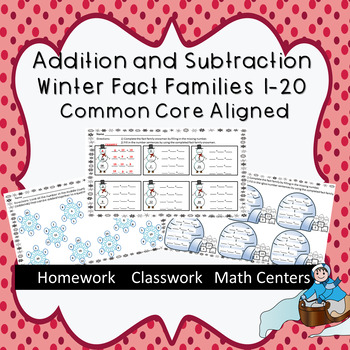 Addition and Subtraction Winter Fact Families 1-20  Common