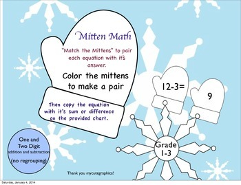 "Addition and Subtraction Winter Themed ""Mitten Math"""
