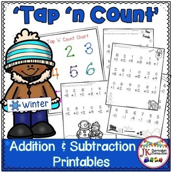 """Addition & Subtraction Winter Math Printables with """"Tap 'n"""